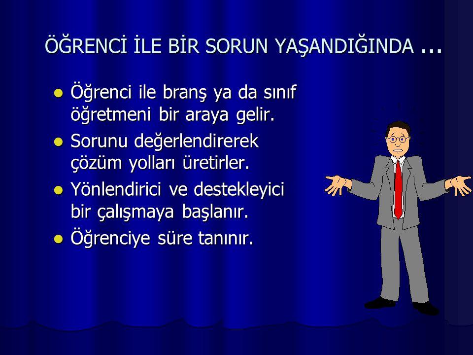 ÖĞRENCİ İLE BİR SORUN YAŞANDIĞINDA ...