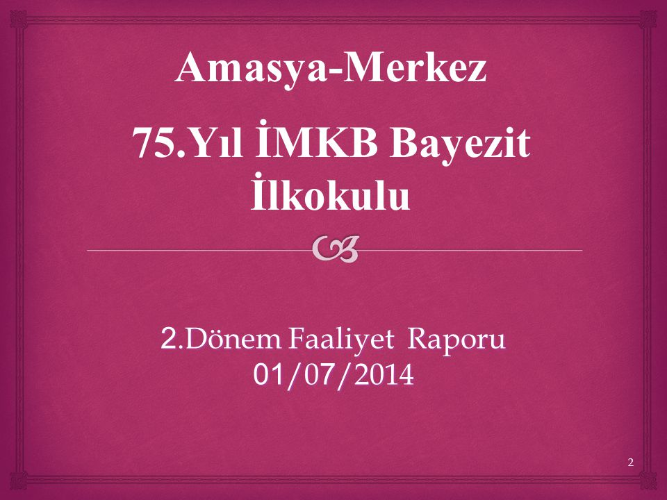 2.Dönem Faaliyet Raporu 01/07/2014