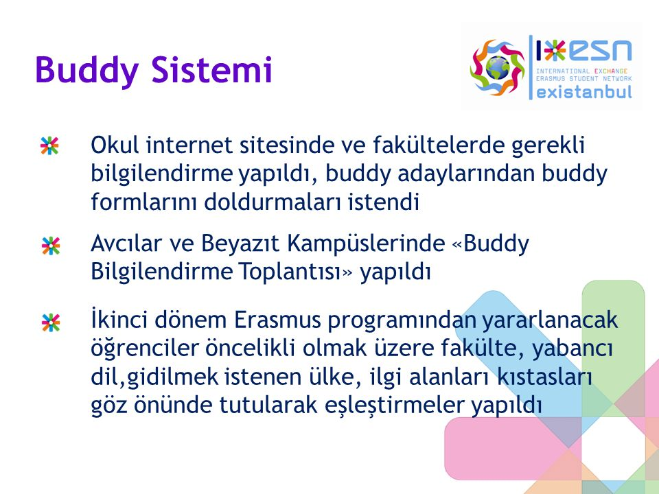 Buddy Sistemi Okul internet sitesinde ve fakültelerde gerekli bilgilendirme yapıldı, buddy adaylarından buddy formlarını doldurmaları istendi.