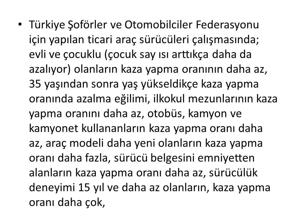 Türkiye Şoförler ve Otomobilciler Federasyonu için yapılan ticari araç sürücüleri çalışmasında; evli ve çocuklu (çocuk say ısı arttıkça daha da azalıyor) olanların kaza yapma oranının daha az, 35 yaşından sonra yaş yükseldikçe kaza yapma oranında azalma eğilimi, ilkokul mezunlarının kaza yapma oranını daha az, otobüs, kamyon ve kamyonet kullananların kaza yapma oranı daha az, araç modeli daha yeni olanların kaza yapma oranı daha fazla, sürücü belgesini emniyetten alanların kaza yapma oranı daha az, sürücülük deneyimi 15 yıl ve daha az olanların, kaza yapma oranı daha çok,