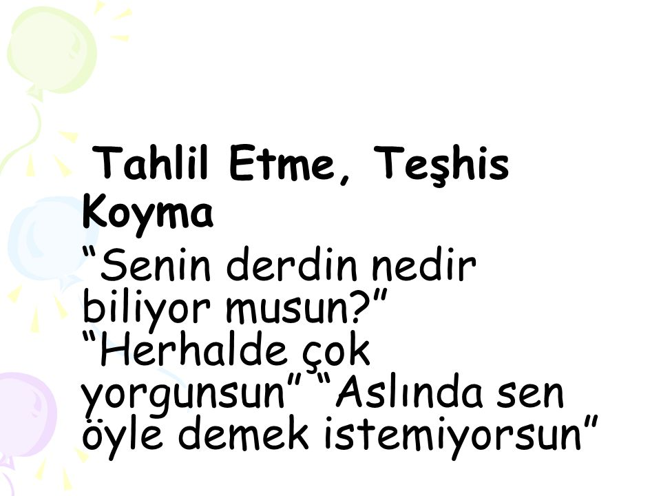 Tahlil Etme, Teşhis Koyma