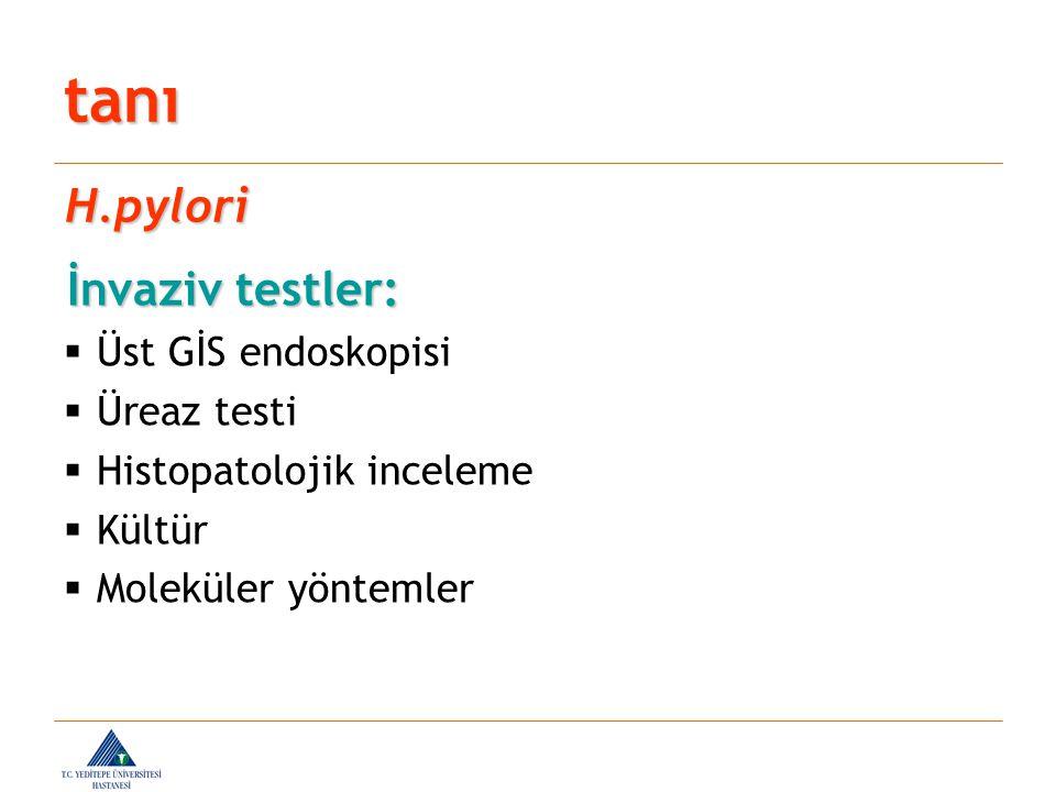 tanı H.pylori İnvaziv testler: Üst GİS endoskopisi Üreaz testi