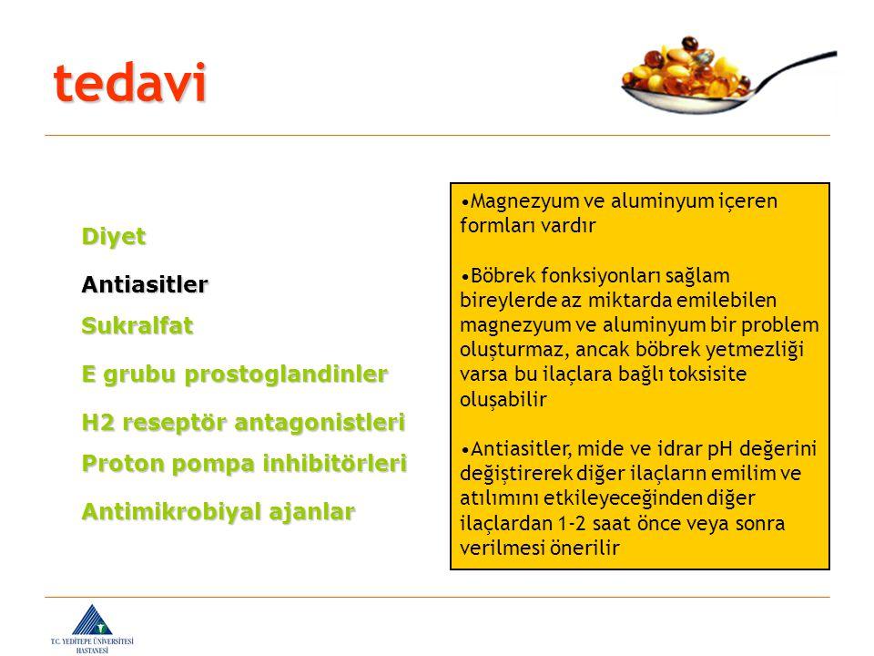 tedavi Diyet Antiasitler Sukralfat E grubu prostoglandinler