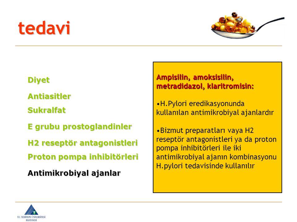tedavi Ampisilin, amoksisilin, metradidazol, klaritromisin: Diyet