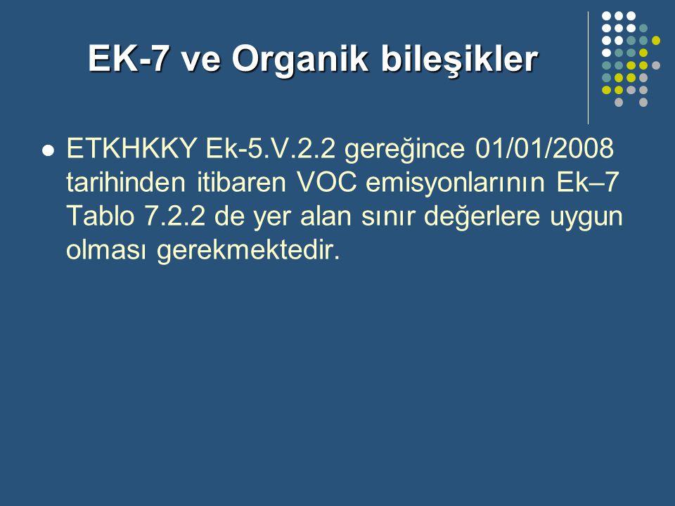 EK-7 ve Organik bileşikler