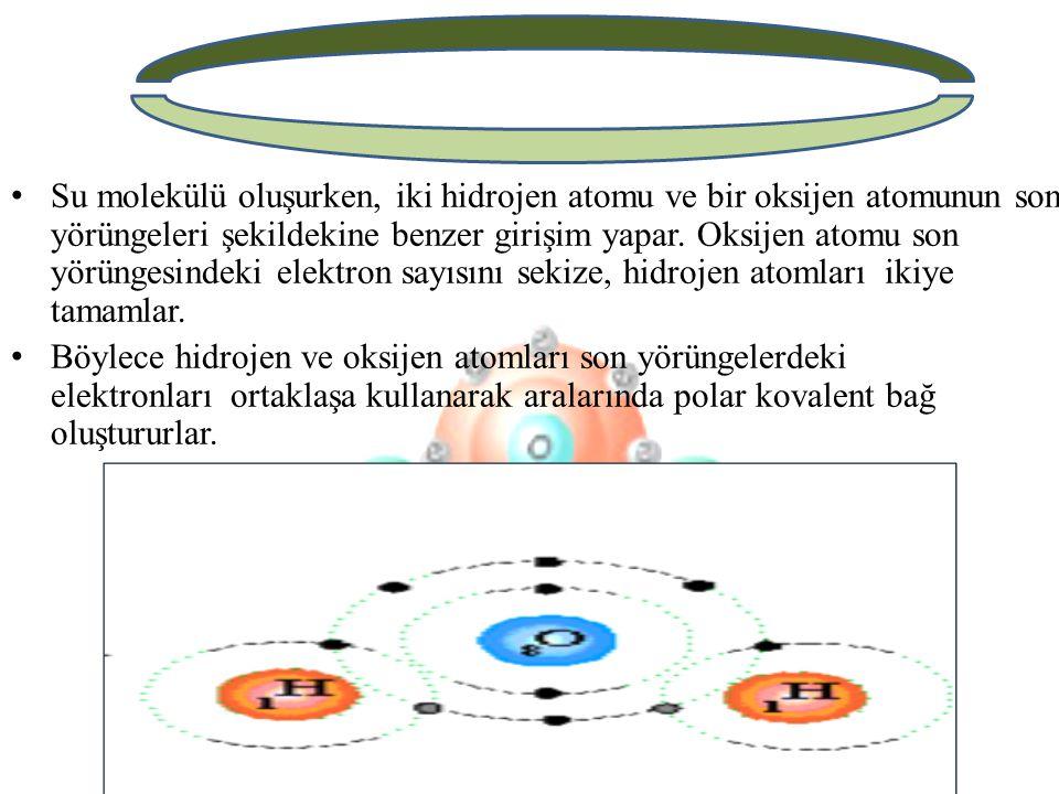 Su molekülü oluşurken, iki hidrojen atomu ve bir oksijen atomunun son yörüngeleri şekildekine benzer girişim yapar. Oksijen atomu son yörüngesindeki elektron sayısını sekize, hidrojen atomları ikiye tamamlar.