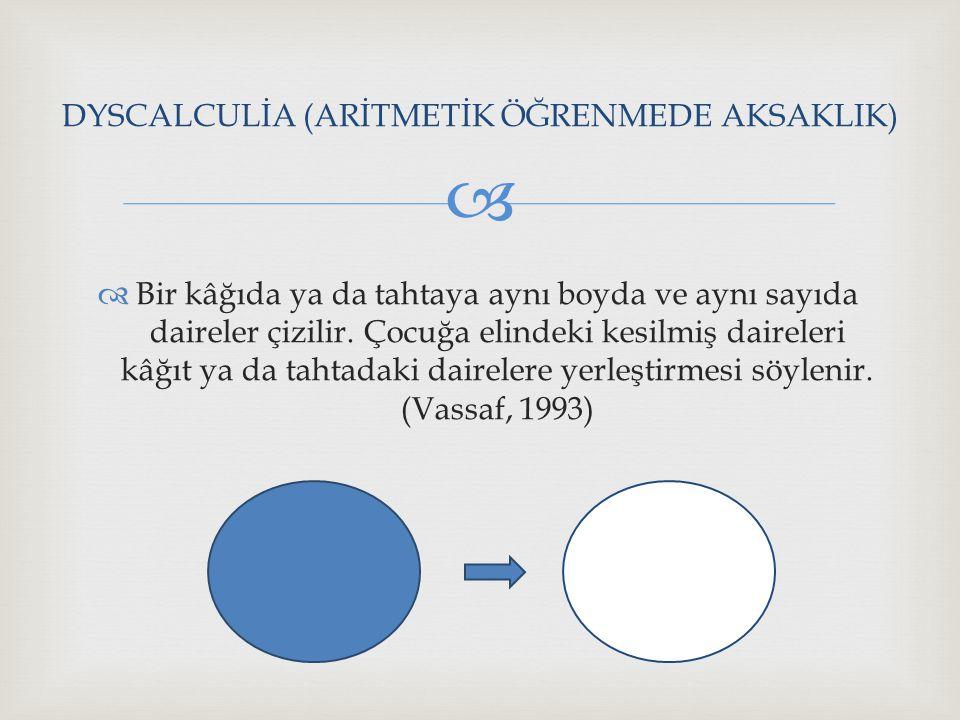 DYSCALCULİA (ARİTMETİK ÖĞRENMEDE AKSAKLIK)
