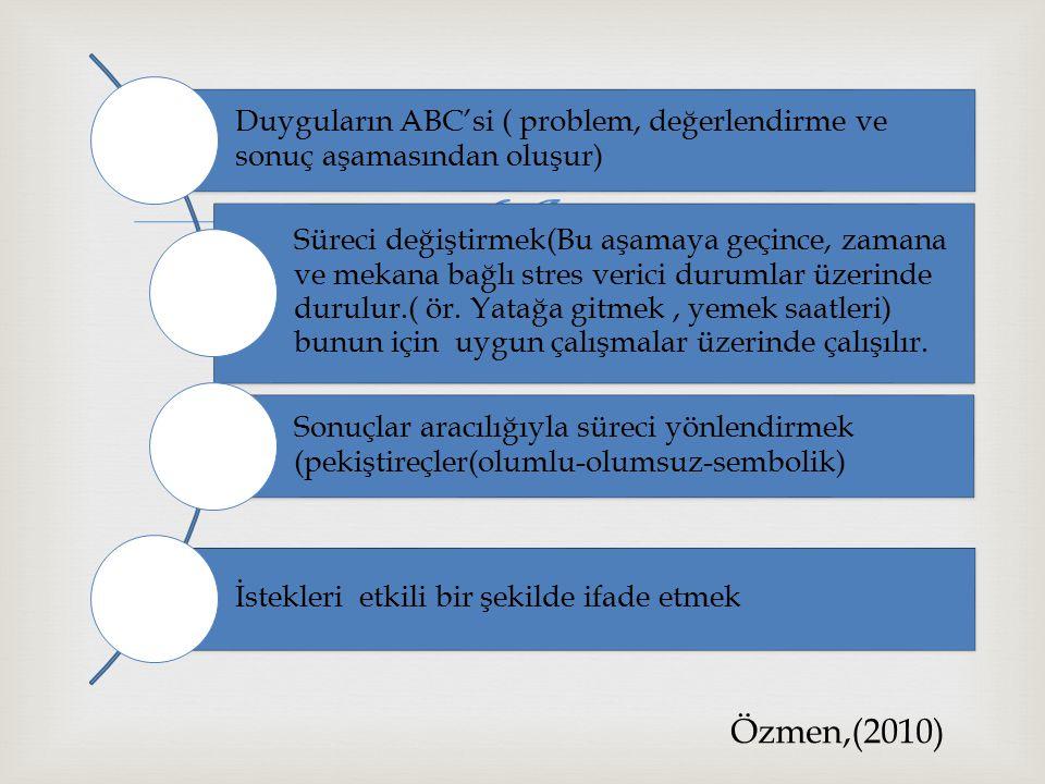 Duyguların ABC'si ( problem, değerlendirme ve sonuç aşamasından oluşur)
