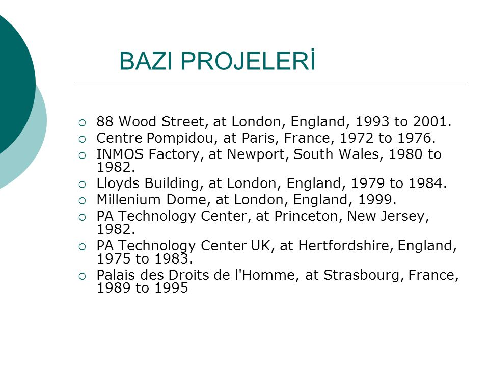 BAZI PROJELERİ 88 Wood Street, at London, England, 1993 to 2001.