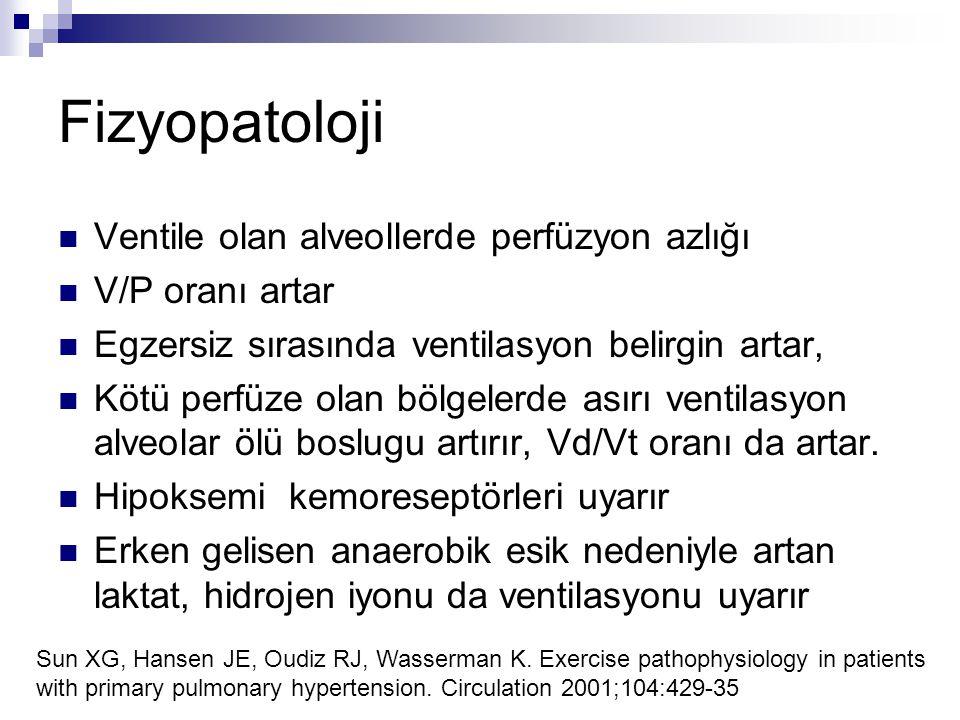 Fizyopatoloji Ventile olan alveollerde perfüzyon azlığı
