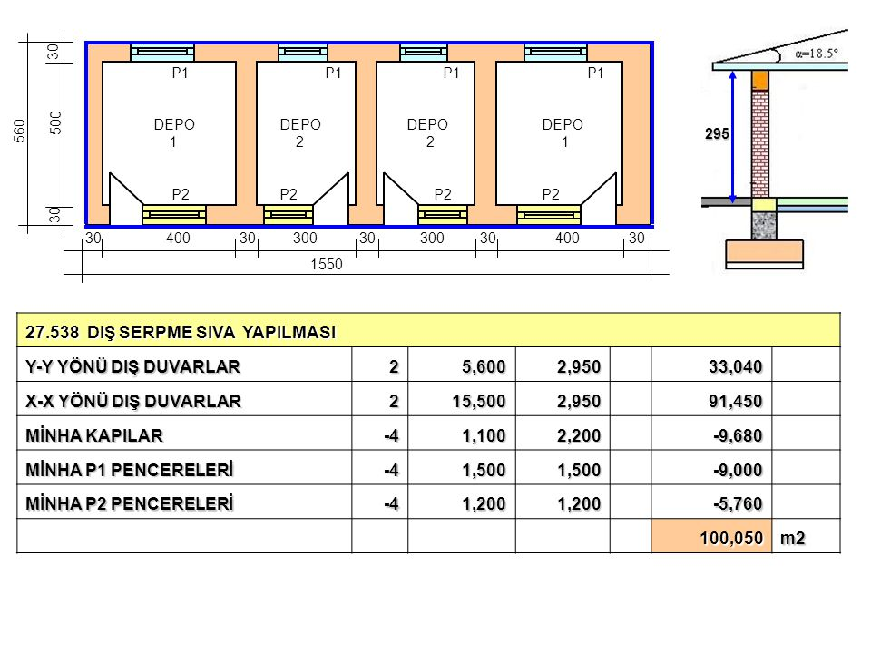 27.538 DIŞ SERPME SIVA YAPILMASI Y-Y YÖNÜ DIŞ DUVARLAR 2 5,600 2,950