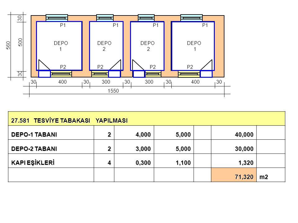 27.581 TESVİYE TABAKASI YAPILMASI DEPO-1 TABANI 2 4,000 5,000 40,000