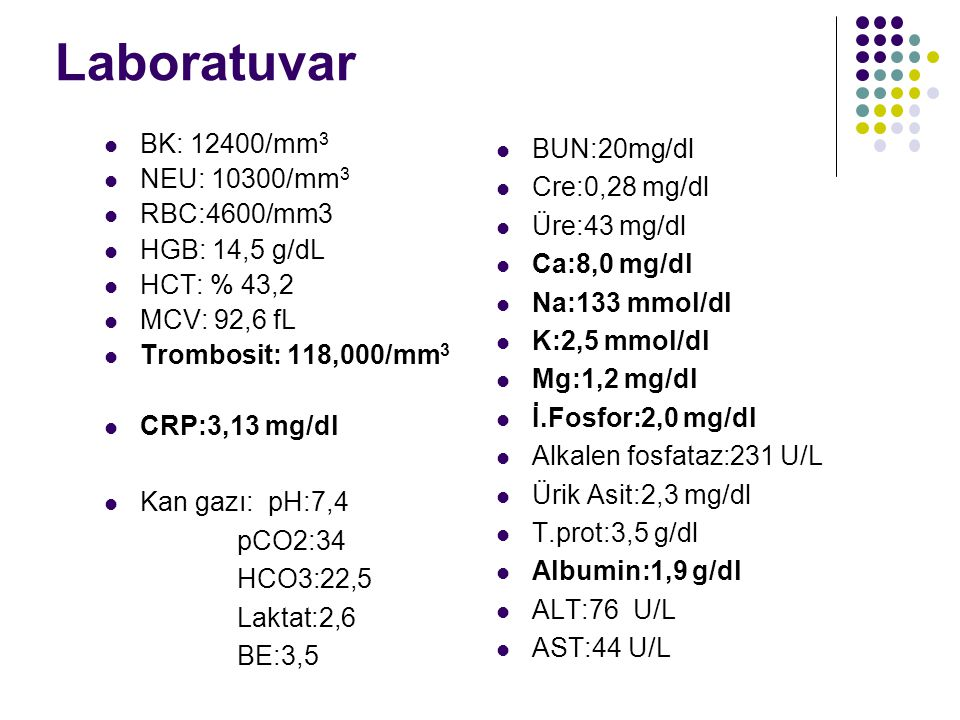 Laboratuvar BK: 12400/mm3 NEU: 10300/mm3 BUN:20mg/dl RBC:4600/mm3