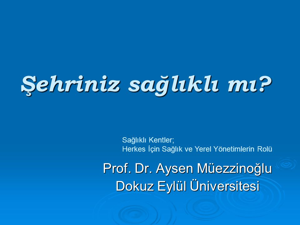 Prof. Dr. Aysen Müezzinoğlu Dokuz Eylül Üniversitesi