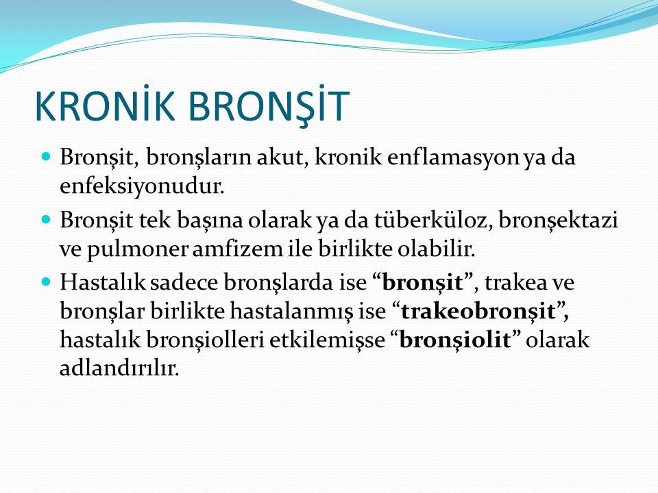 KRONİK BRONŞİT Bronşit, bronşların akut, kronik enflamasyon ya da enfeksiyonudur.
