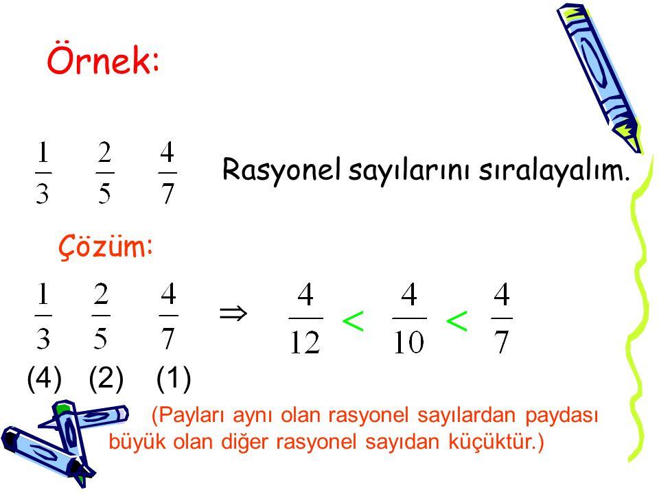   Örnek: Rasyonel sayılarını sıralayalım. Çözüm:  (4) (2) (1)