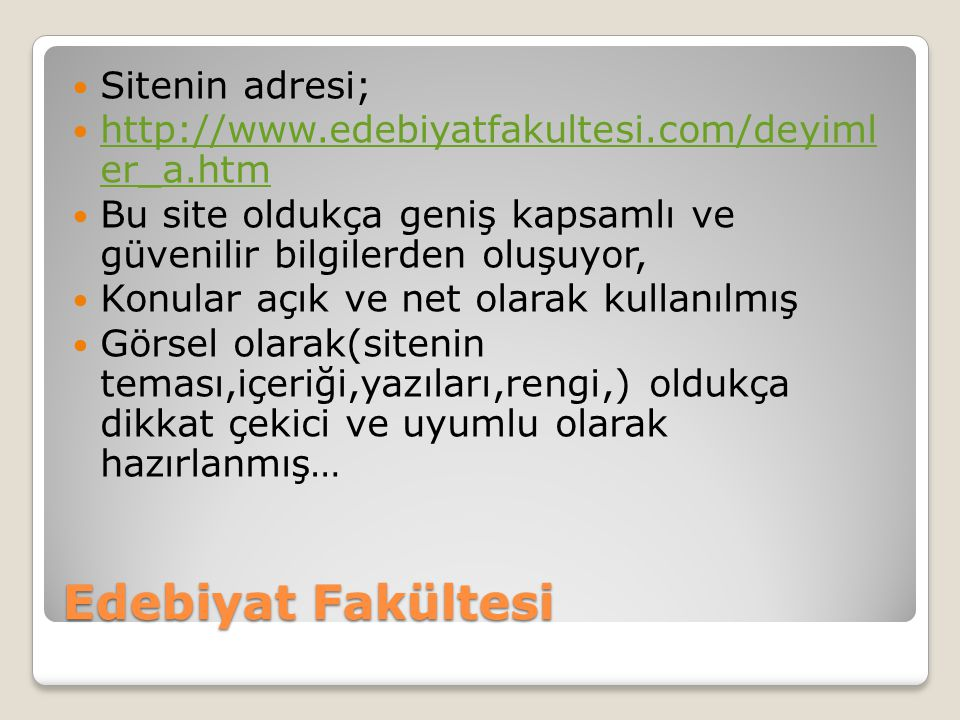 Edebiyat Fakültesi Sitenin adresi;