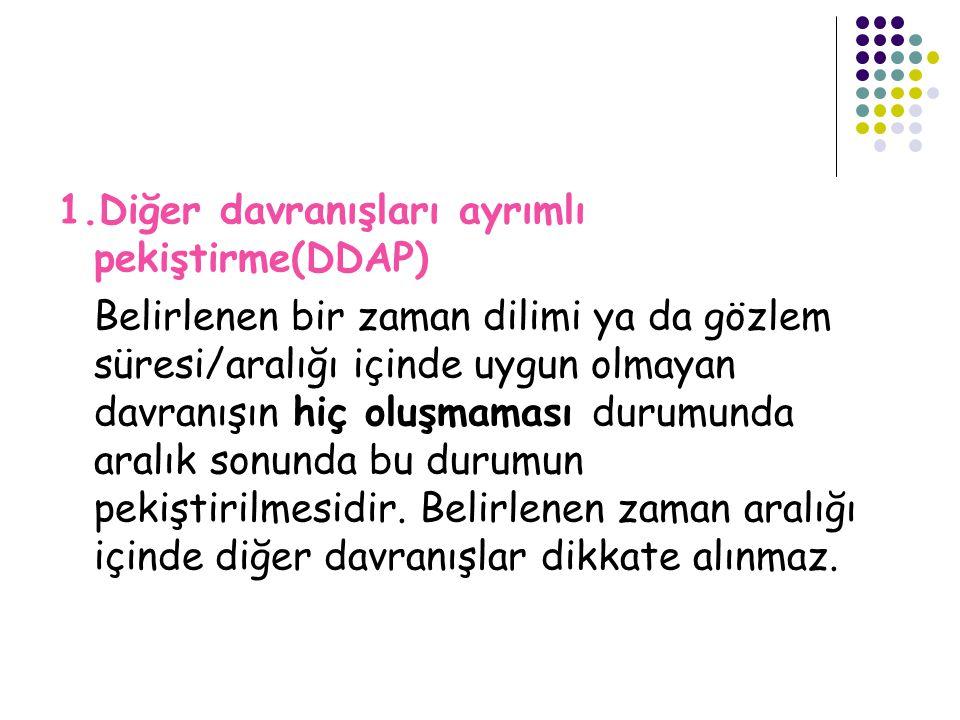 1.Diğer davranışları ayrımlı pekiştirme(DDAP)