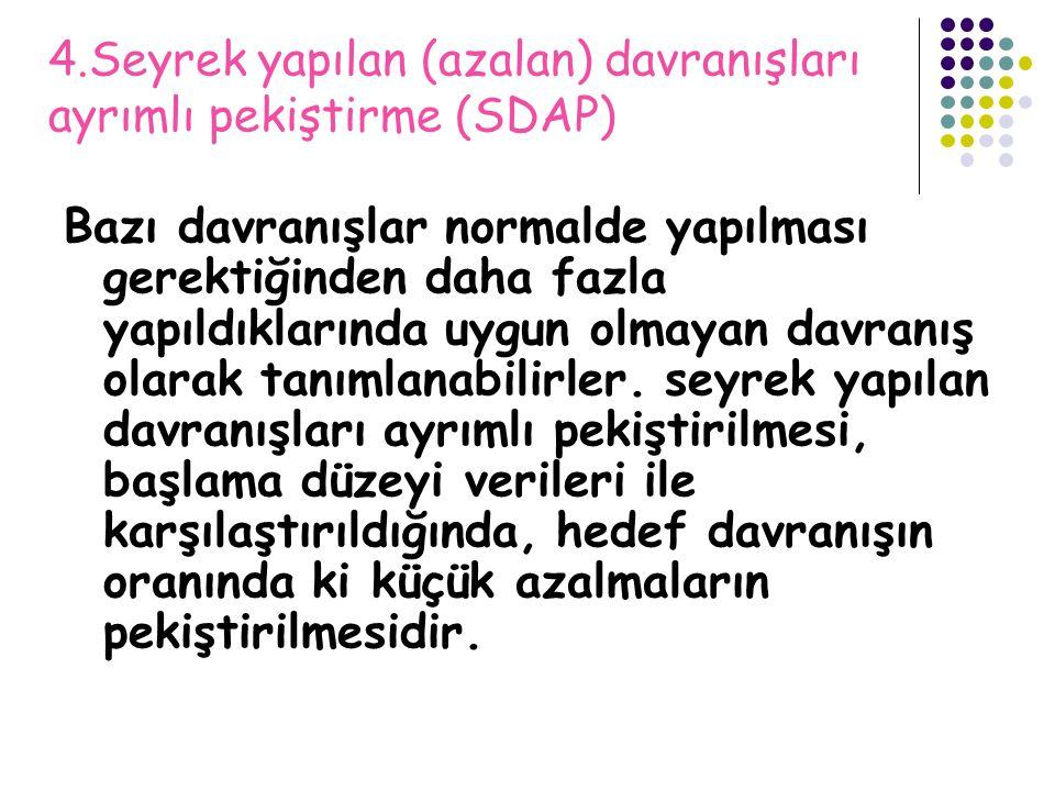 4.Seyrek yapılan (azalan) davranışları ayrımlı pekiştirme (SDAP)