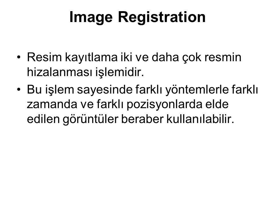 Image Registration Resim kayıtlama iki ve daha çok resmin hizalanması işlemidir.