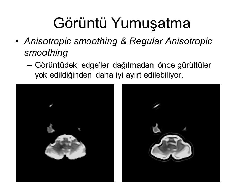 Görüntü Yumuşatma Anisotropic smoothing & Regular Anisotropic smoothing.