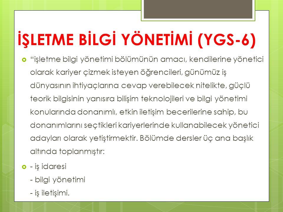 İŞLETME BİLGİ YÖNETİMİ (YGS-6)