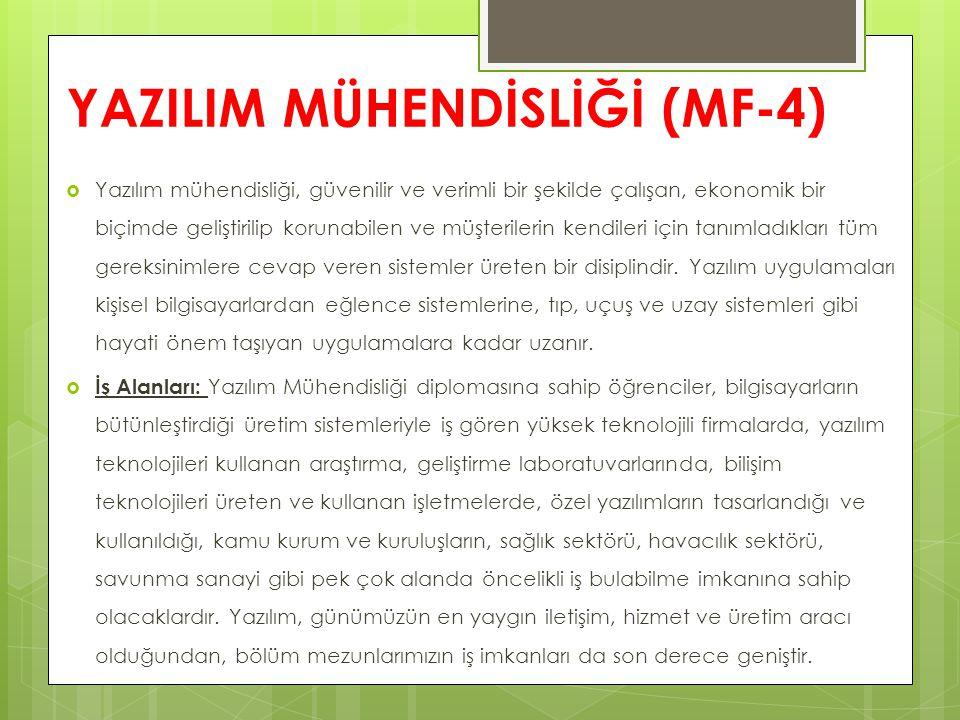 YAZILIM MÜHENDİSLİĞİ (MF-4)