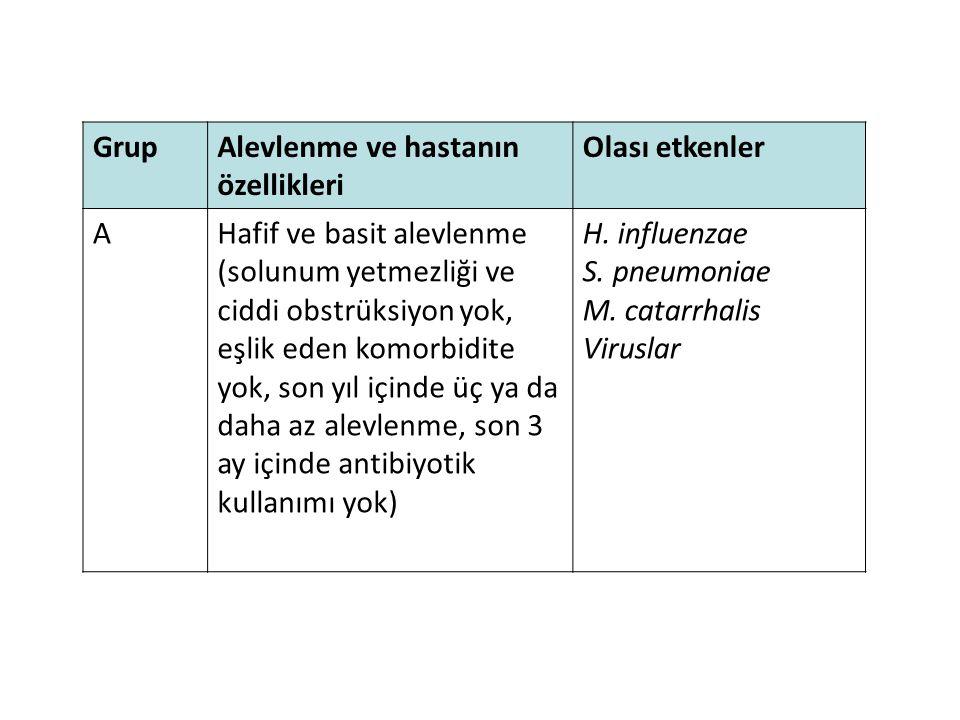 Grup Alevlenme ve hastanın özellikleri. Olası etkenler. A. Hafif ve basit alevlenme.