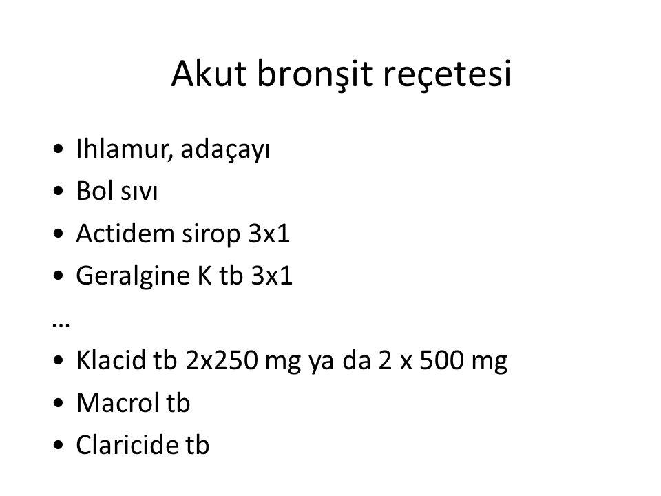 Akut bronşit reçetesi Ihlamur, adaçayı Bol sıvı Actidem sirop 3x1