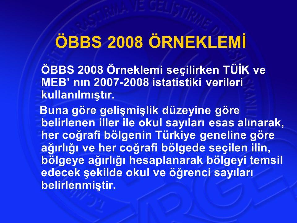 ÖBBS 2008 ÖRNEKLEMİ ÖBBS 2008 Örneklemi seçilirken TÜİK ve MEB' nın 2007-2008 istatistiki verileri kullanılmıştır.
