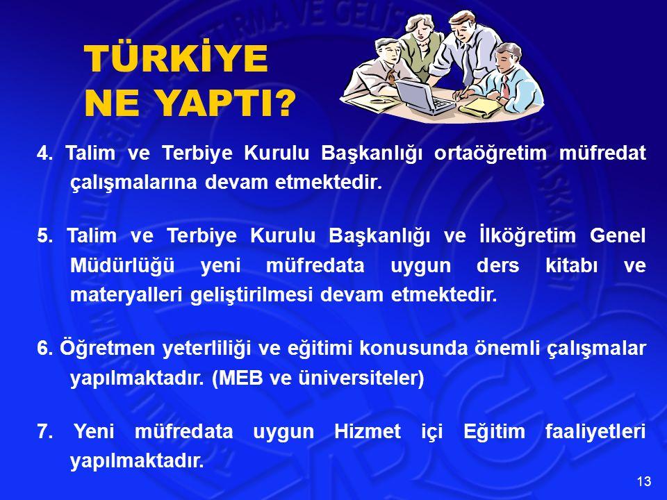 TÜRKİYE NE YAPTI 4. Talim ve Terbiye Kurulu Başkanlığı ortaöğretim müfredat çalışmalarına devam etmektedir.