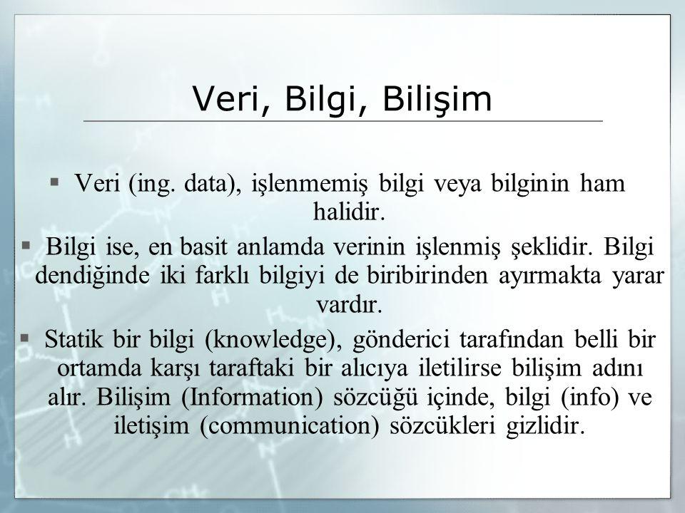 Veri (ing. data), işlenmemiş bilgi veya bilginin ham halidir.