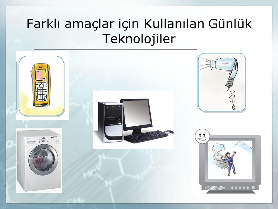 Farklı amaçlar için Kullanılan Günlük Teknolojiler