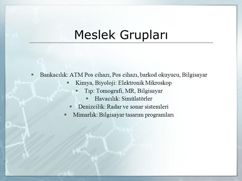 Meslek Grupları Bankacılık: ATM Pos cihazı, Pos cihazı, barkod okuyucu, Bilgisayar. Kimya, Biyoloji: Elektronik Mikroskop.