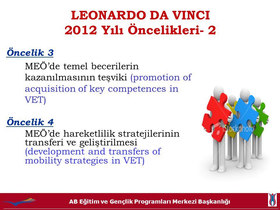 LEONARDO DA VINCI 2012 Yılı Öncelikleri- 2