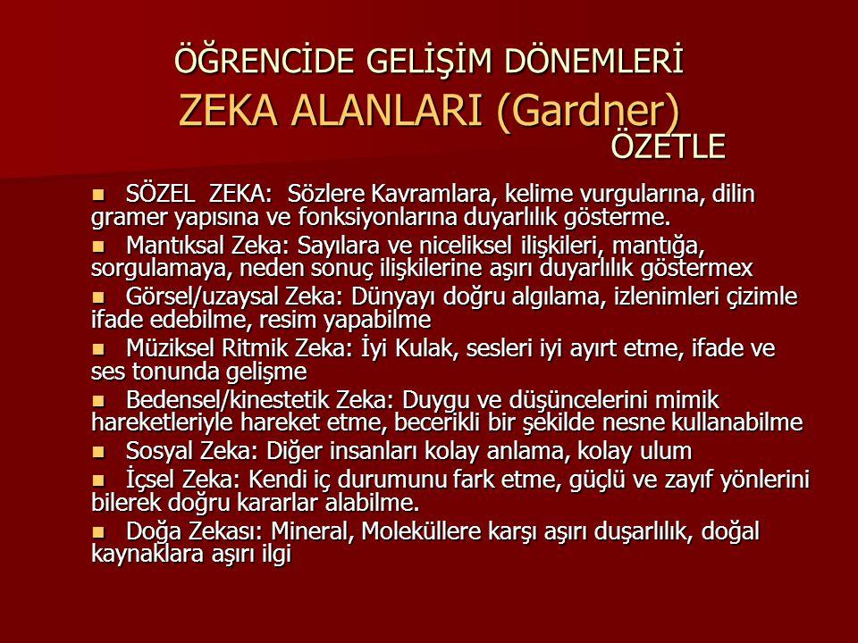 ÖĞRENCİDE GELİŞİM DÖNEMLERİ ZEKA ALANLARI (Gardner)