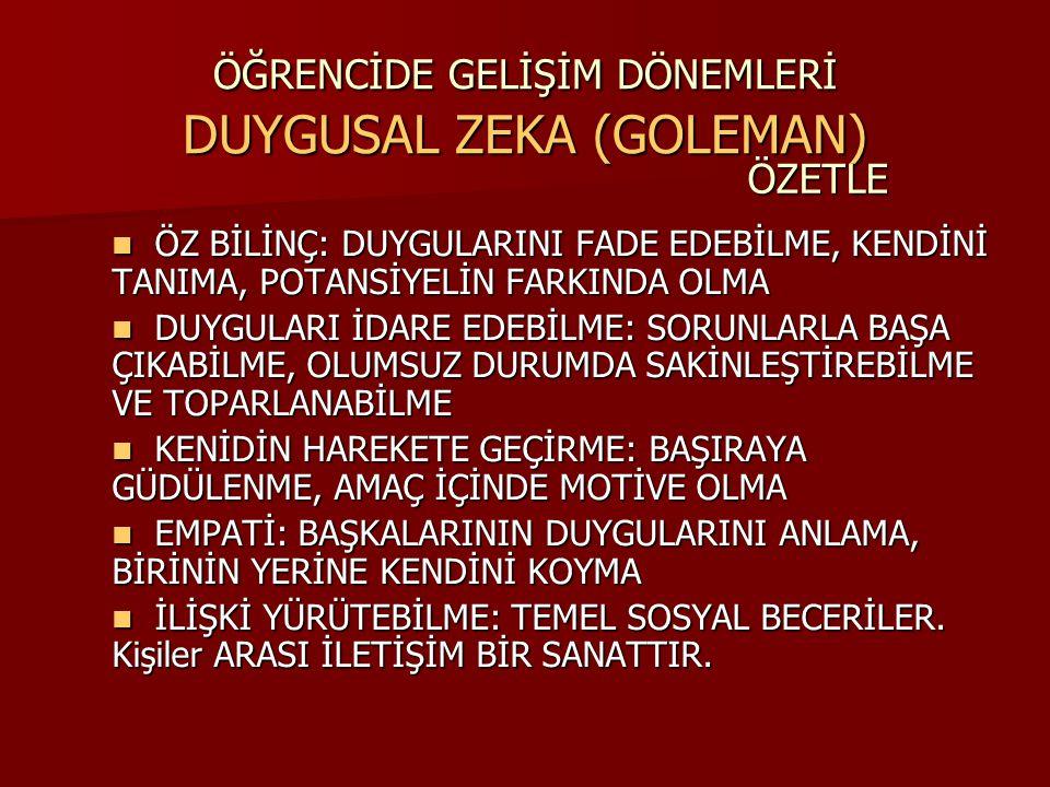 ÖĞRENCİDE GELİŞİM DÖNEMLERİ DUYGUSAL ZEKA (GOLEMAN)