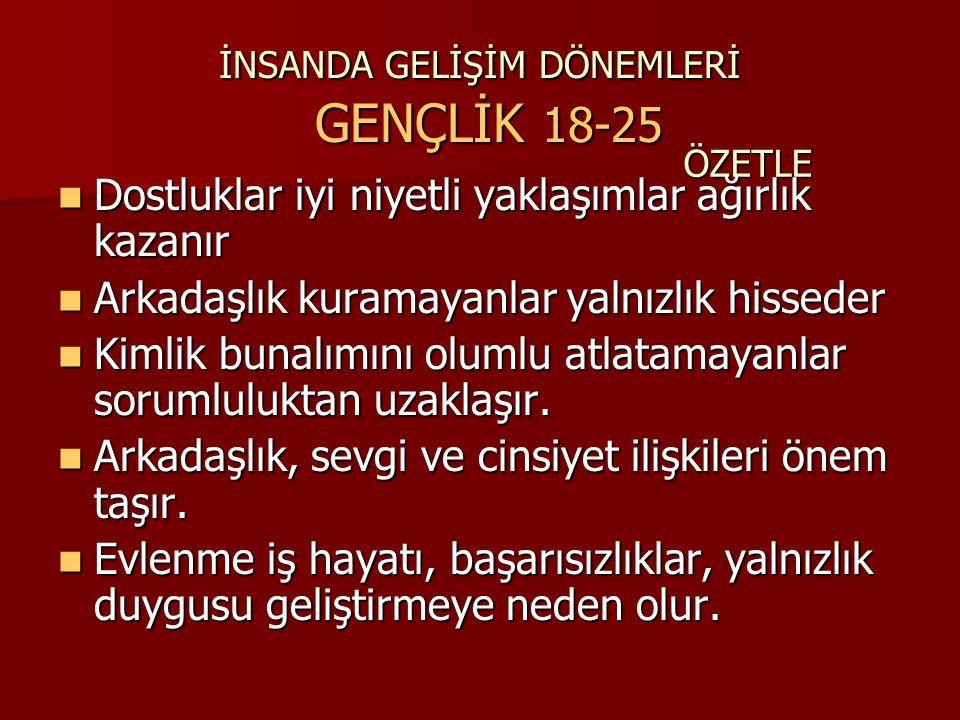 İNSANDA GELİŞİM DÖNEMLERİ GENÇLİK 18-25