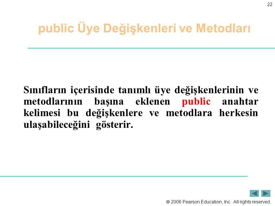 public Üye Değişkenleri ve Metodları