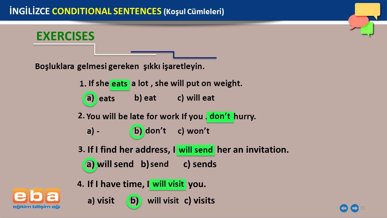 EXERCISES İNGİLİZCE CONDITIONAL SENTENCES (Koşul Cümleleri)