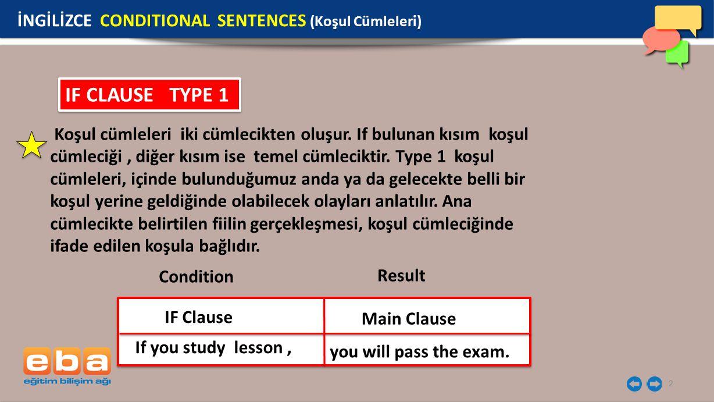 IF CLAUSE TYPE 1 İNGİLİZCE CONDITIONAL SENTENCES (Koşul Cümleleri)