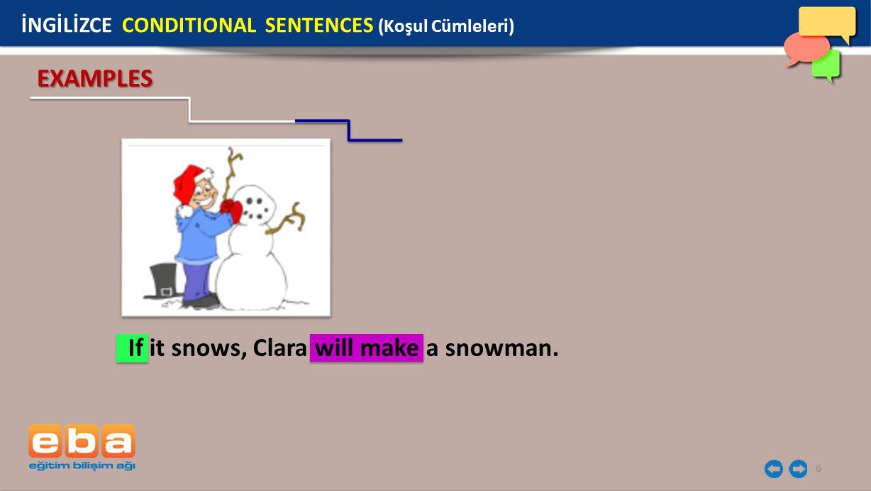 If it snows, Clara will make a snowman.