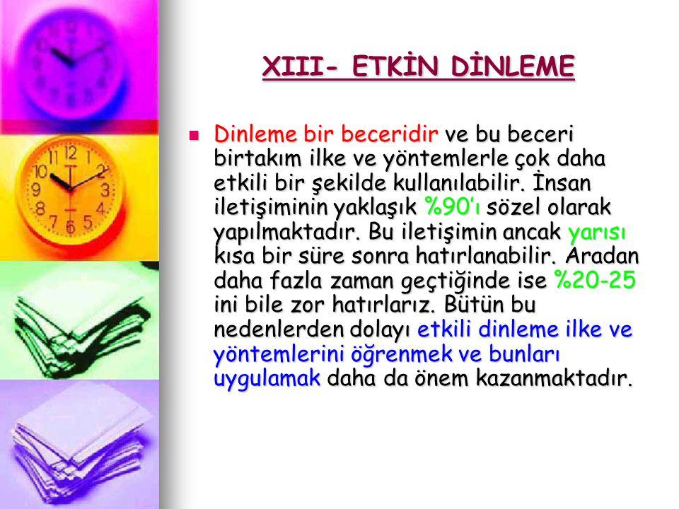 XIII- ETKİN DİNLEME