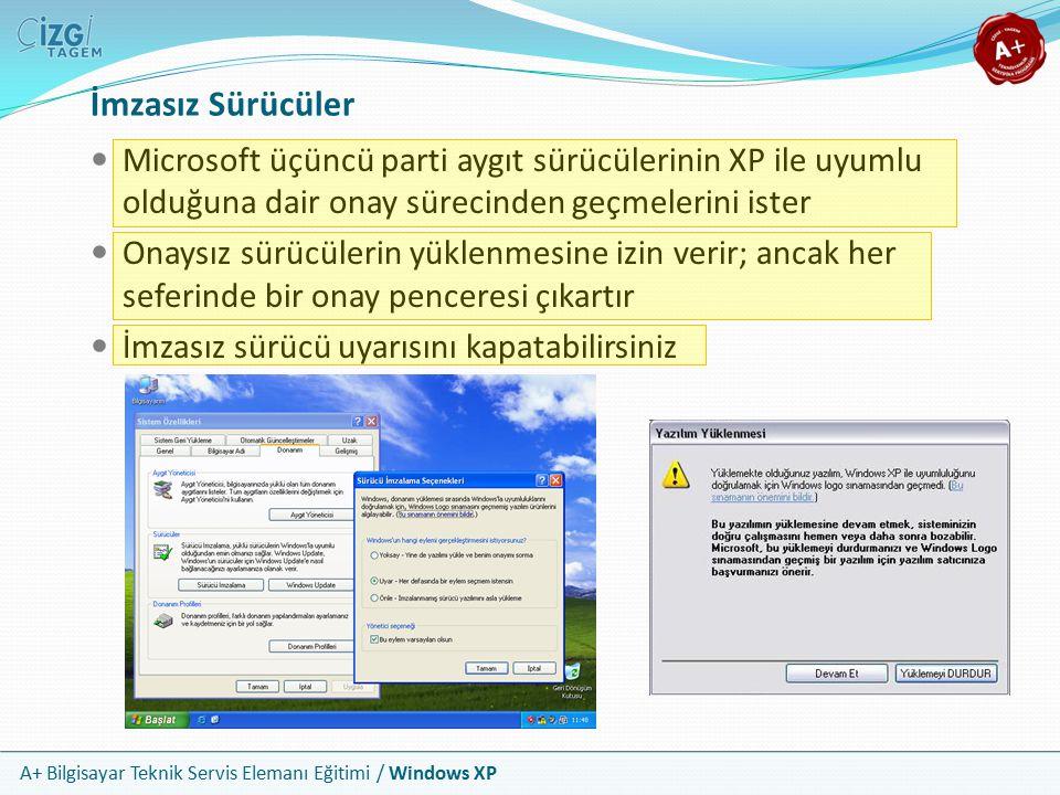İmzasız Sürücüler Microsoft üçüncü parti aygıt sürücülerinin XP ile uyumlu olduğuna dair onay sürecinden geçmelerini ister.