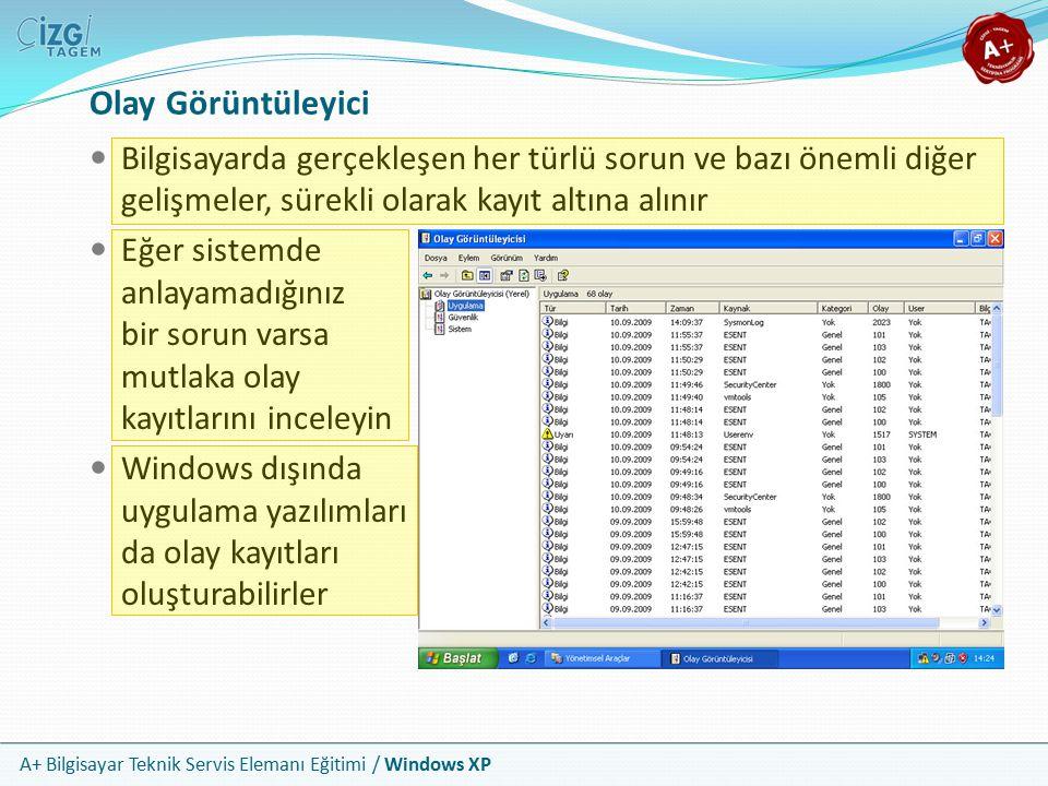 Olay Görüntüleyici Bilgisayarda gerçekleşen her türlü sorun ve bazı önemli diğer gelişmeler, sürekli olarak kayıt altına alınır.