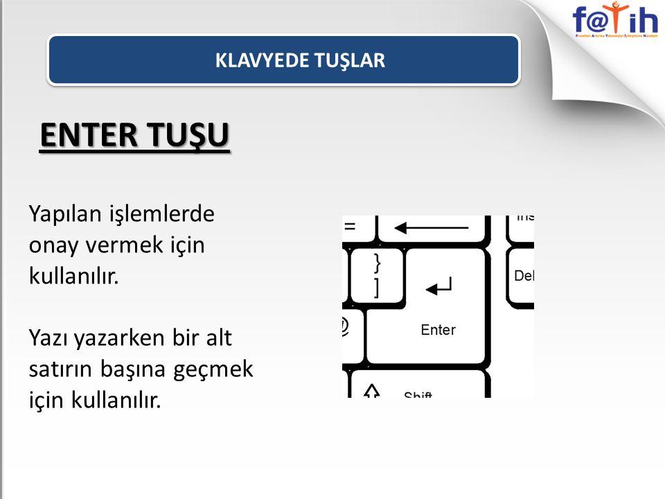 ENTER TUŞU Yapılan işlemlerde onay vermek için kullanılır.