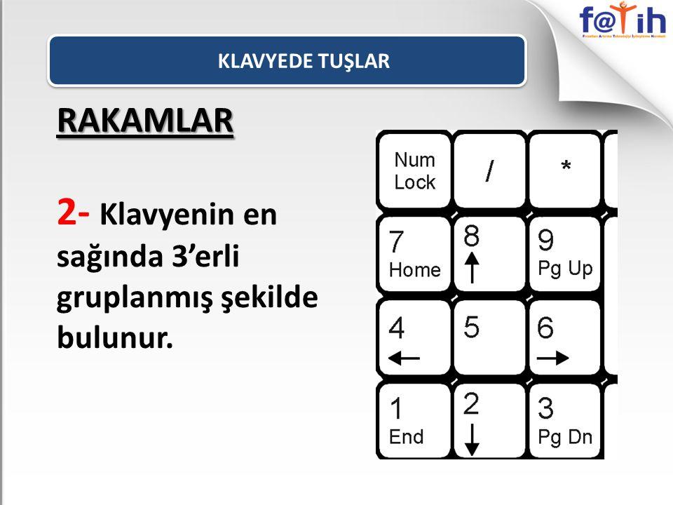 2- Klavyenin en sağında 3'erli gruplanmış şekilde bulunur.