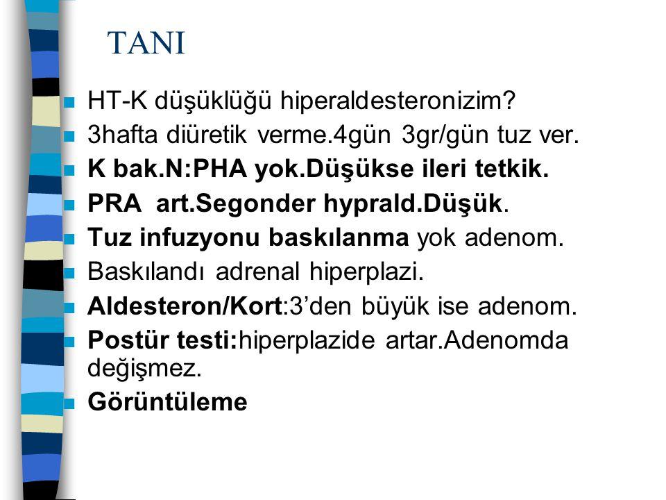 TANI HT-K düşüklüğü hiperaldesteronizim