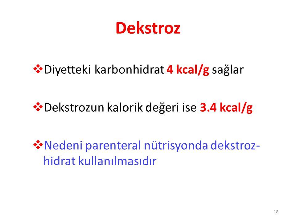 Dekstroz Diyetteki karbonhidrat 4 kcal/g sağlar