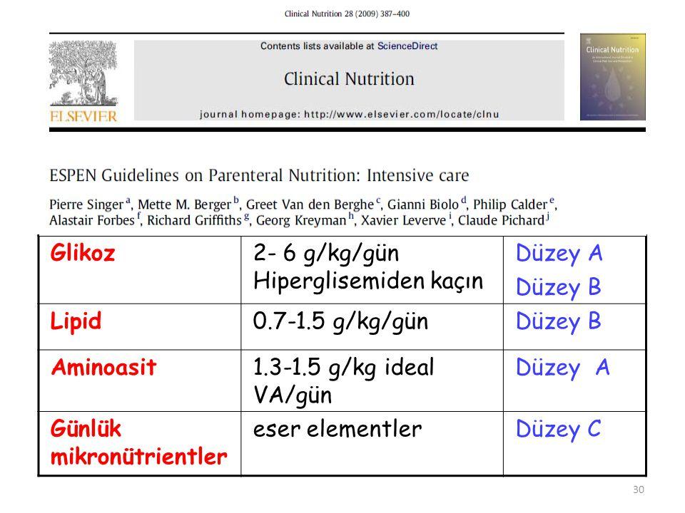 Glikoz 2- 6 g/kg/gün Hiperglisemiden kaçın. Düzey A. Düzey B. Lipid. 0.7-1.5 g/kg/gün. Aminoasit.